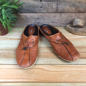 Cole Haan Nike air tan leather slides